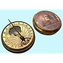 Antiques World The Lord Kelvin (1824 - 1907) Antique Marine Time Vintage Style Art Décor Heavy Brass & Copper Sundial With Calendar Inbuilt Pocket Compass AWUSASC 03