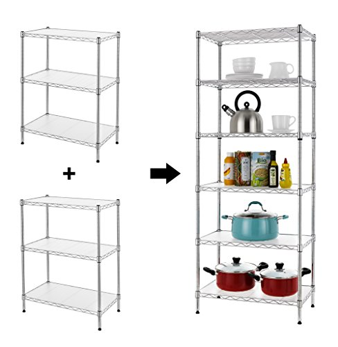 Shelving Unit Adjustable Steel Wire Rack Shelving 6 Shelves Steel Storage Rack or Two 3 tier shelving units with PE mat and Stable Leveling Feet, Chrome (Three Adjustable Steel Shelves)