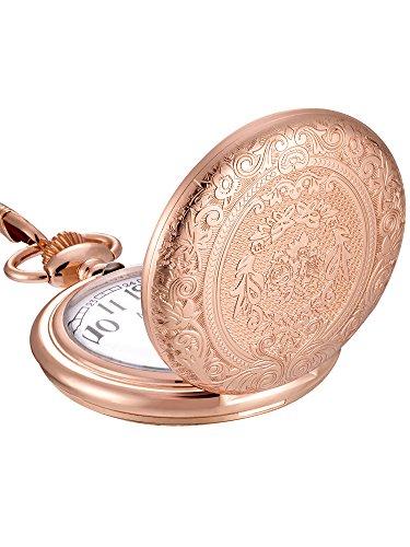 Mudder Vintage Stainless Steel Quartz Pocket Watch Chain (Rose Gold) (Pocket Vintage Gold Watch)