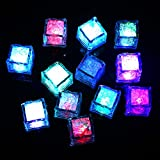 Efanr 12 Pcs Multicolor Party Decorative Ice Cubes Sensor Light Water Submersible LED Liquid Light for Wedding Party Bar Club Champagne Tower Holiday Festival Decoration (Slow flash)