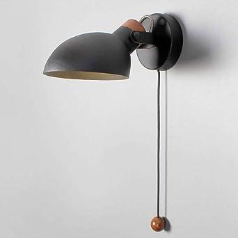 WRMING Lámpara de Pared con Interruptor, Aplique de Pared Metal Moderna Cabecera Ajustable Luz de Lectura para Salon Dormitorio Sala Pasillo Escalera, E14,Negro: Amazon.es: Iluminación