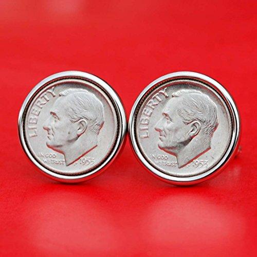 US 1953 Roosevelt Dime Gem BU Uncirculated 90% Silver 10 Cent Coin Cufflinks NEW
