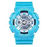 Sanda Teens Youth Sports Watch Waterproof Shock Resist Dual Time Analog Digital Light Wristwatch - Blue