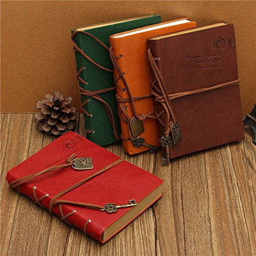 Retro Vintage Deep Color PU Leather Blank Pages Notebook Journal Diary(Random: Color)