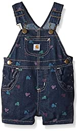 Carhartt Baby Girls\' Printed Bib Shortall, Classic Wash, 12 Months