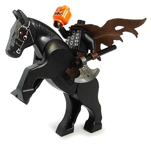The Headless Horseman - Lego Halloween Minifigure with Pumpkin Head and Horse (The Legend of Sleepy Hollow)