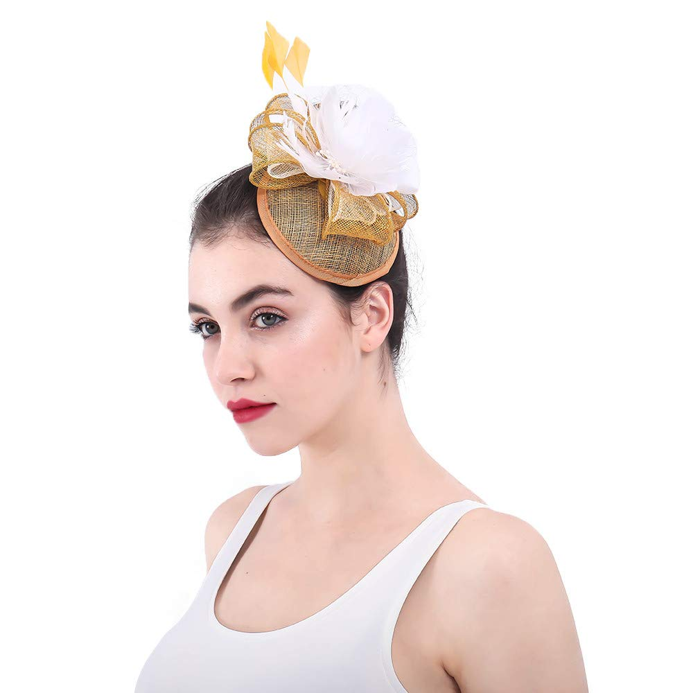 Aihifly Women Wedding Hair Fascinator Feather Flower Hair Clip Headwear  Royal Ascot Cocktail Tea Party Masquerade Props (Color   Yellow)   Amazon.co.uk  ... 8f3c51a4ae47