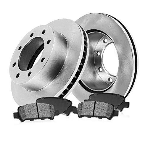 [ 4WD ABS Dual REAR Wheels ] REAR 325 mm Premium OE 8 Lug [2] Brake Disc Rotors + [4] Metallic Brake Pads