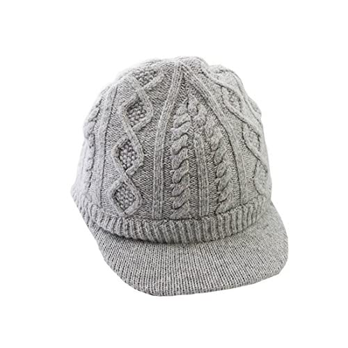 wholesale Grey Color Knit Visor Cap Baby Girl Boys Winter Beanie Hat (1T-8T) hot sale