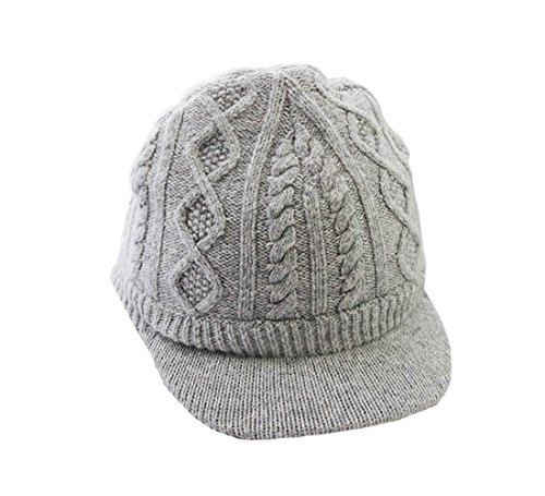 Grey Color Knit Visor Cap Baby Girl Boys Winter Beanie Hat (1T-8T) ()