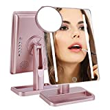 Hansong Makeup Mirror with Lights- Lighted Makeup Mirror,USB Chargeable,Wireless Audio Speakers,Detachable 10X Magnifying Mirror,180° Rotation Countertop Cosmetic Mirror(LED Rose Gold)