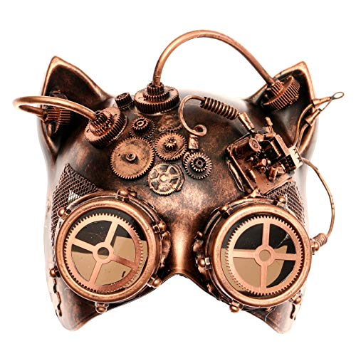 ILOVEMASKS Steampunk Gatto with Goggle Venetian Mask Copper Color for Masquerade Halloween Ball -
