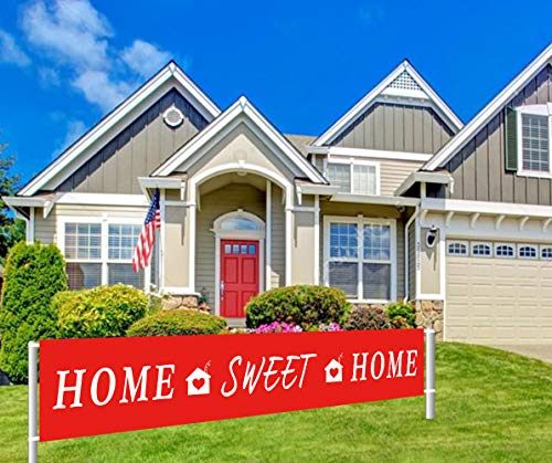 Colormoon Large Home Sweet Home Banner | Welcome Home Banner | Housewarming, Decorations | Family Party Supplies Home Decor | Red, White Outdoor Indoor (9.8 x 1.5 feet) ()