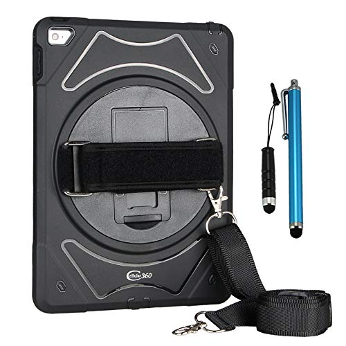 Cellular360 Shockproof Case for iPad Air 2, Car Headrest Mount Case with 360 Degree Rotatable Kickstand, Adjustable Handle and Shoulder Strap (Black)
