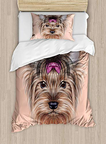 Yorkie Luxury 4-Piece Bedding Set,Realistic Computer Drawn Image of Yorkshire Terrier with Cute Ribbon Animal,Duvet Covers Set Duvet Cover Bed Sheet Pillow Cases,Salmon Light Brown,Twin Pattern ()