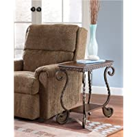 Metal Chairside End Table in Dark Brown MPN: 7-283T