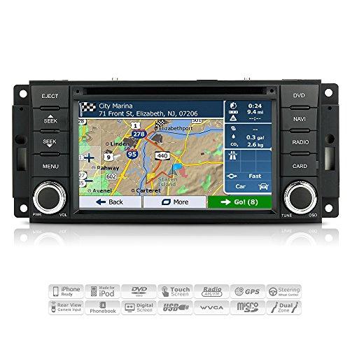 AIMTOM 2007-17 Jeep Wrangler 2008-17 Dodge Grand Caravan 2009-12 RAM 1500 In-Dash GPS Navigation Bluetooth DVD Stereo Touch Screen FM AM Radio USB SD Infotainment System w/ Copyrighted iGo Primo Maps