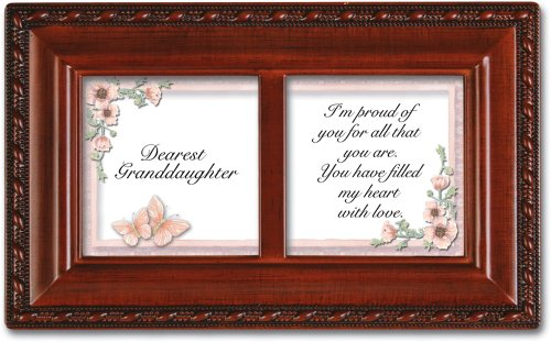 Cottage Garden Dearest Granddaughter Woodgrain Rope Trim Jewelry Music Box Plays You Light Up My Life