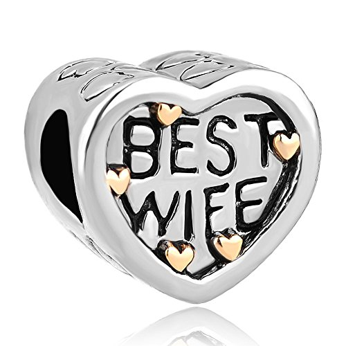 Two Tone Locket - Q&Locket Best Wife Two Tone Heart Love Charms European Bead For Bracelet