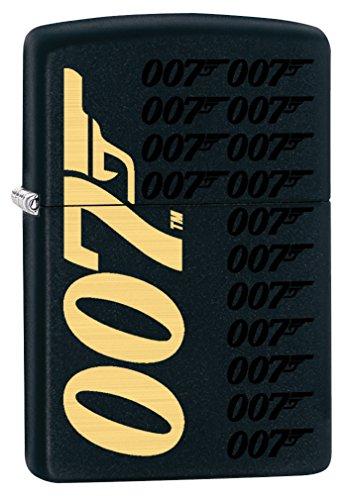 Zippo Custom Lighter: James Bond 007 Logos - Black Matte 78873