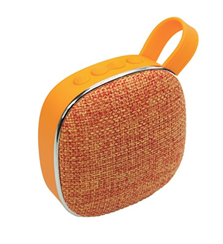 Portable Wireless Bluetooth 3W Speaker with FM Radio, Built-in Microphone, High Fidelity Sound, Powerful Bass, Micro SD Playback, USB Charging, Hands Free Calls, Cloth Cover, Carry Strap (Orange) ()