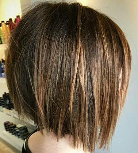 Honey Highlights (Full Shine Bob Wig 8 Inch Lace Wig Highlighted Color #4 Medium Brown Highlight With #27 Honey Blonde Pre Plucked Short Wig Brazilian Straight Human Hair 130% Density)