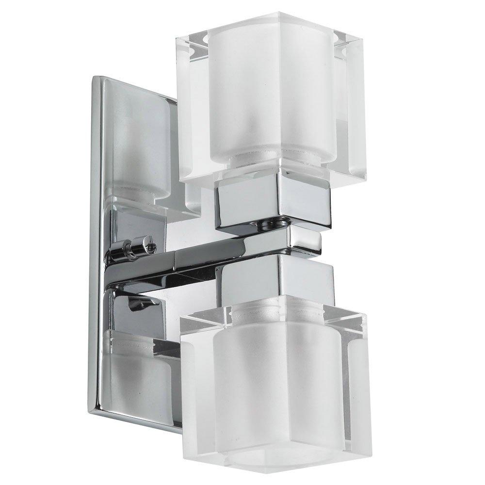 浴室洗面化粧台2ライト電球器具with Polishedクローム仕上げメタル/ガラス材質3