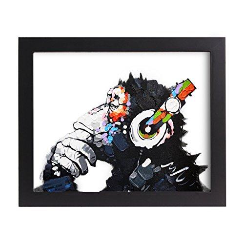 UNIQUEBELLA 8*10inch LEINWAND BILDER! FERTIG AUFGESPANNT handgemalte Bilder Ölgemälde Leinwand Affe Kopfhörer Gemälde Wohnkultur Dekor