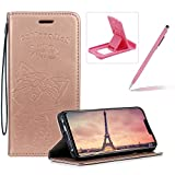 Strap Leather Case for Huawei P Smart Plus,Rose Gold Wallet Flip Case for Huawei P Smart Plus,Herzzer Elegant Classic Solid Color Magnetic Cute Fish Cat Printed Stand PU Leather Case with Soft TPU