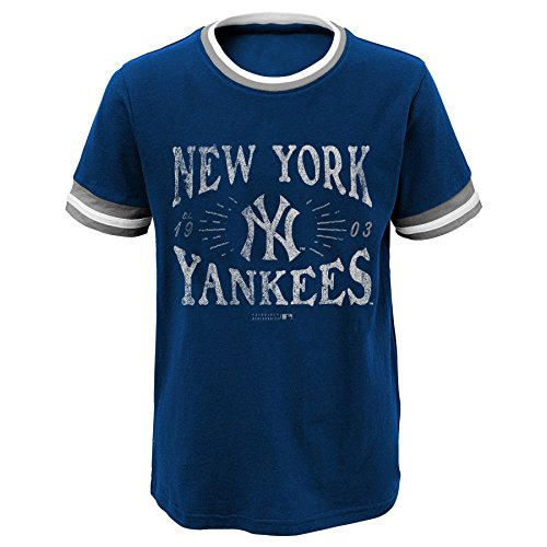 MLB New York Yankees Youth Boys 8-20 Ringer Tee-L (14-sixteen), Athletic Navy – DiZiSports Store