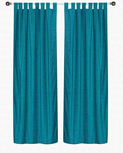 ned-Turquoise Tab Top Velvet Curtain/Drape/Panel - 43W x 84L - Piece ()