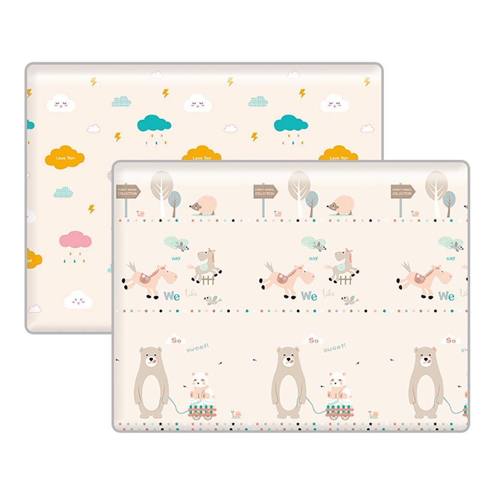JIA LIANG Baby Play Mat, Double Sides Foam Play Mats for Infants, Extra Large Portable Crawling Mat Use for Indoor & Outdoor,D,250 * 180 * 1CM