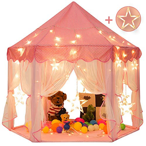 Sunnyglade 55'' x 53'' Princess Tent with 8.2 Feet Big and Large Star Lights Girls Large Playhouse Kids Castle Play Tent for Children Indoor and Outdoor -