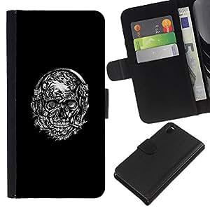KLONGSHOP // Tirón de la caja Cartera de cuero con ranuras para tarjetas - Cráneo Negro la guirnalda blanca de fumadores - Sony Xperia Z3 D6603 //