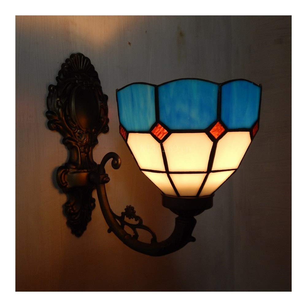 Soft Lighting 8inch Handmade Wall Chandelier with Stained Glass for Home Decoration Simple European Style Handmade (Color : 4)