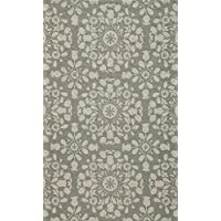 Momeni Rugs SUZHKSZI-4GRY2030 Suzani Hooks Collection, 100% Wool Hand Hooked Traditional Area Rug, 2 x 3, Grey