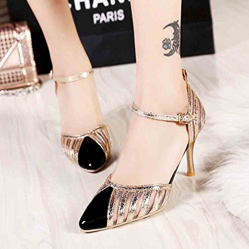 Easemax Womens Trendy Stitching Mesh Patent Glitter Ankle Buckle Straps Pointed Toe Mid Kitten Heel Sandals Black DYEBJnAz7Z