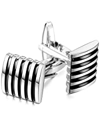 MOWOM Silver Tone Black Blue 2PCS Rhodium Plated Cufflinks Striped Shirt Wedding Business