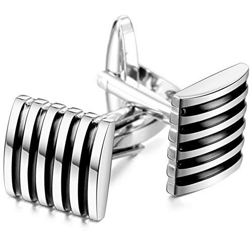 Plated Mens Cufflinks (MOWOM Silver Tone Black 2PCS Rhodium Plated Cufflinks Striped Shirt Wedding Business)