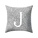 Letter Pillow Case Covers Metallic Throw Pillow Case 18x18'' A-Z Letter Alphabets Cushion Cover for Home Sofa Couch Decor (J)