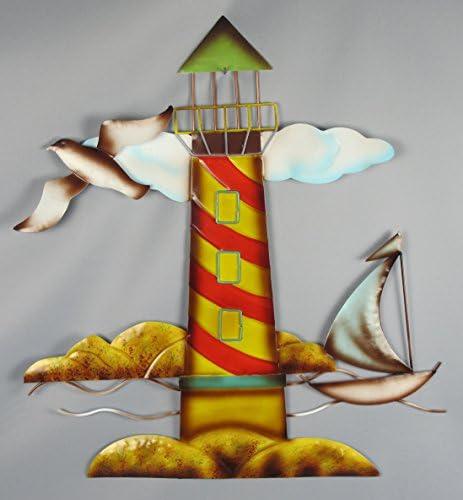 HS Metal Lighthouse Nautical Wall Sculpture