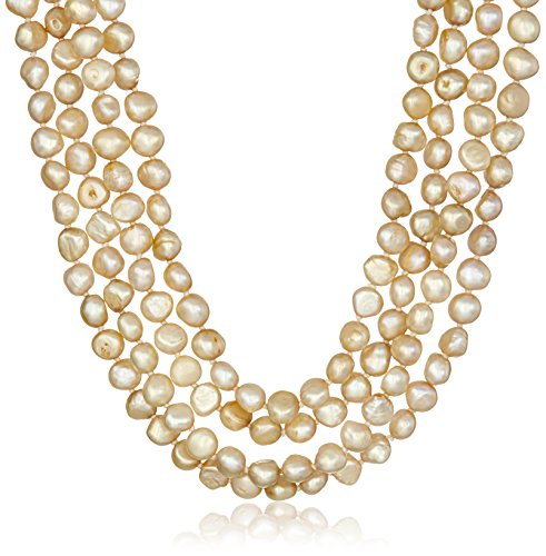 6-7mm Dyed Honeysuckle Baroque Freshwater Cultured Pearl Endless Necklace, 100