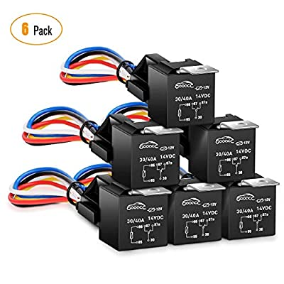GOOACC 6 Pack Automotive Relay Harness Set 5-Pin 30/40A 12V SPDT with Interlocking Relay Socket and Harnesses,2 years Warranty: Automotive
