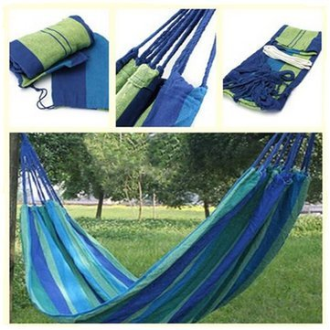 Ever Mall Outdoor Camping Canvas Fabric Portable Garden Hammocks Striped Ultralight Outdoor Beach Swing Bed with Strong Rope,Swing for Garden