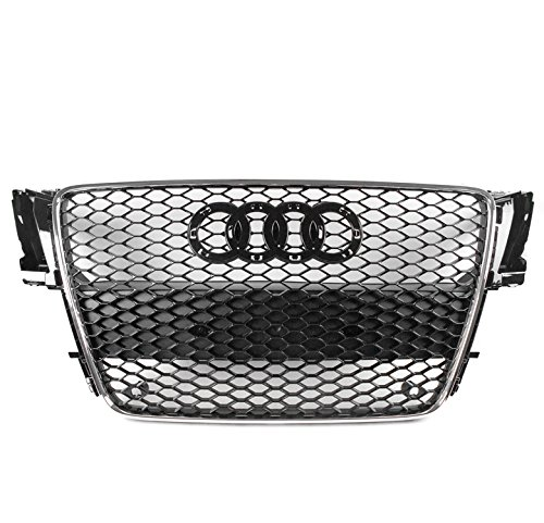 ZMAUTOPARTS For 2008-2012 Audi A5 / S5 B8 8T RS5 Style Honeycomb Mesh Hex Grille Gloss Black with Chrome Trim