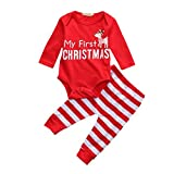 Christmas Outfit Toddler Newborn Infant Baby Boy Girl My First Christmas Deer Romper + Stripe Pants Clothing Set By Shiningup, Multicoloured, 0-3 Months