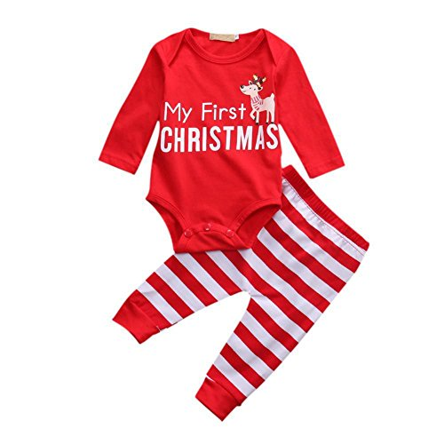 Baby Girl Christmas Outfits Newborn - Little Sky Xmas Outfits for Baby, Newborn Girl Boy 2PCs My 1st Christmas Baby Pajama Sets , Red , 90/6-12 Months