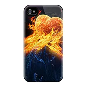 Iphone 4/4s Hard Back With Bumper Silicone Gel Tpu Case Cover Heart On Fire
