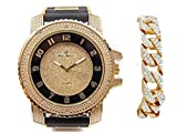 Bling-ed Out Charles Raymond Black Rubber Hip Hop Bullet Gold Tone Watch w/Bling'd Out Gold Cuban Bracelet - 7758RB Cuban