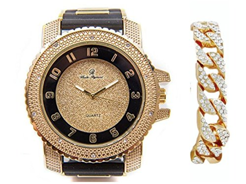 Charles Raymond Iced Out Black Rubber Hip Hop Bullet Gold Tone Watch w/Bling'd Out Gold Cuban Bracelet - 7758RB Cuban (Iced Out Black Watch)
